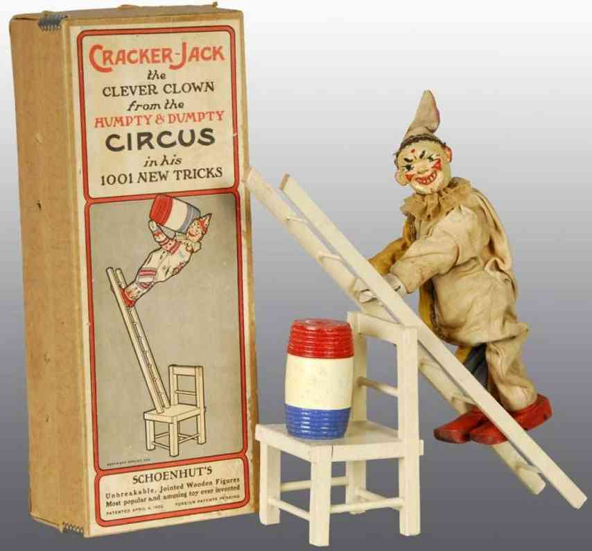 schoenhut holz spielzeug cracker jack der klevere clown leiter stuhl fass