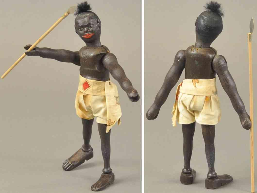 schoenhut holz spielzeug teddy safar afrikanischer eingeborener