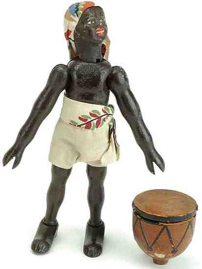 schoenhut wooden toy safari figure native drummer