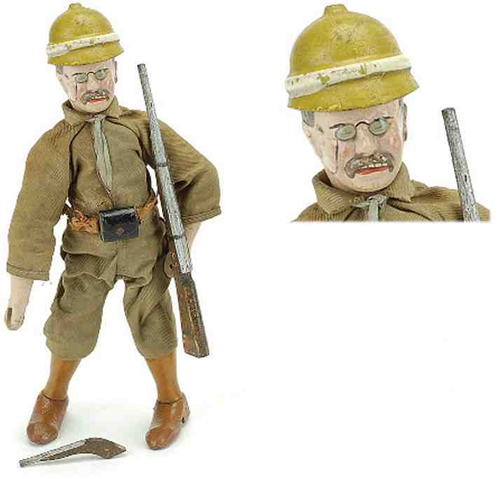 schoenhut wooden toy safari figure teddy roosevelt cloth dressed