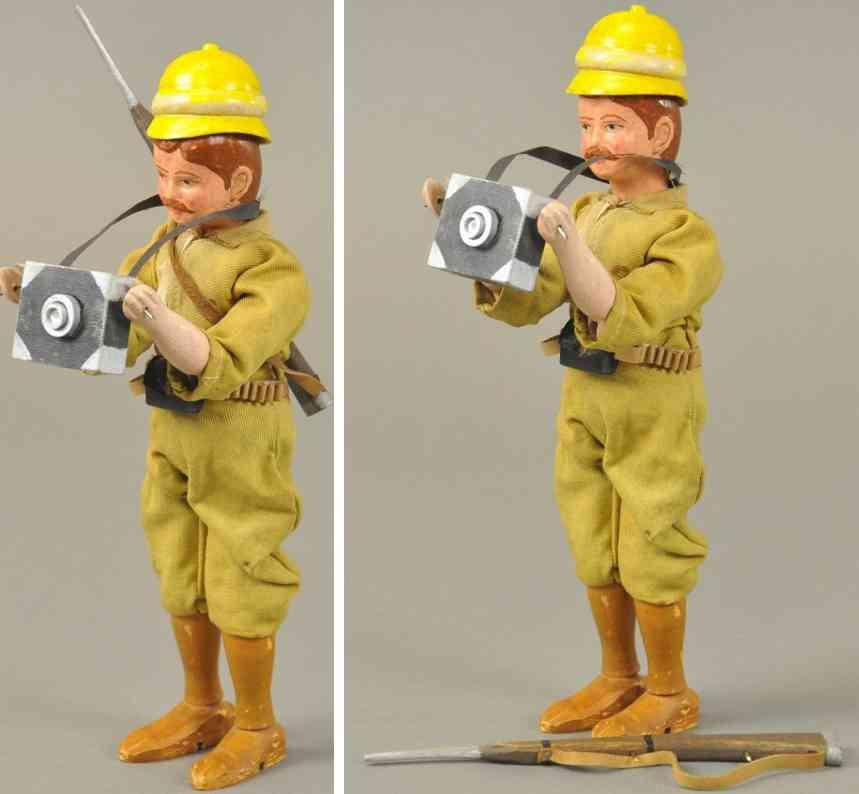 schoenhut Figure Safari 8,5 holz spielzeug figur teddys safari soldatenfigur mit fotoapparat, aus holz mit ge