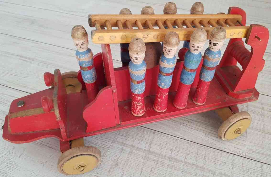 toy antique wooden fire truck and ladder with 9 skittles france
