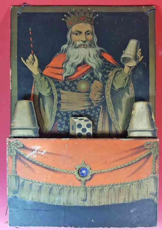 unknown holz spielzeug figur zauberjongleur mit seinen bechern aus holz, pappe und papier