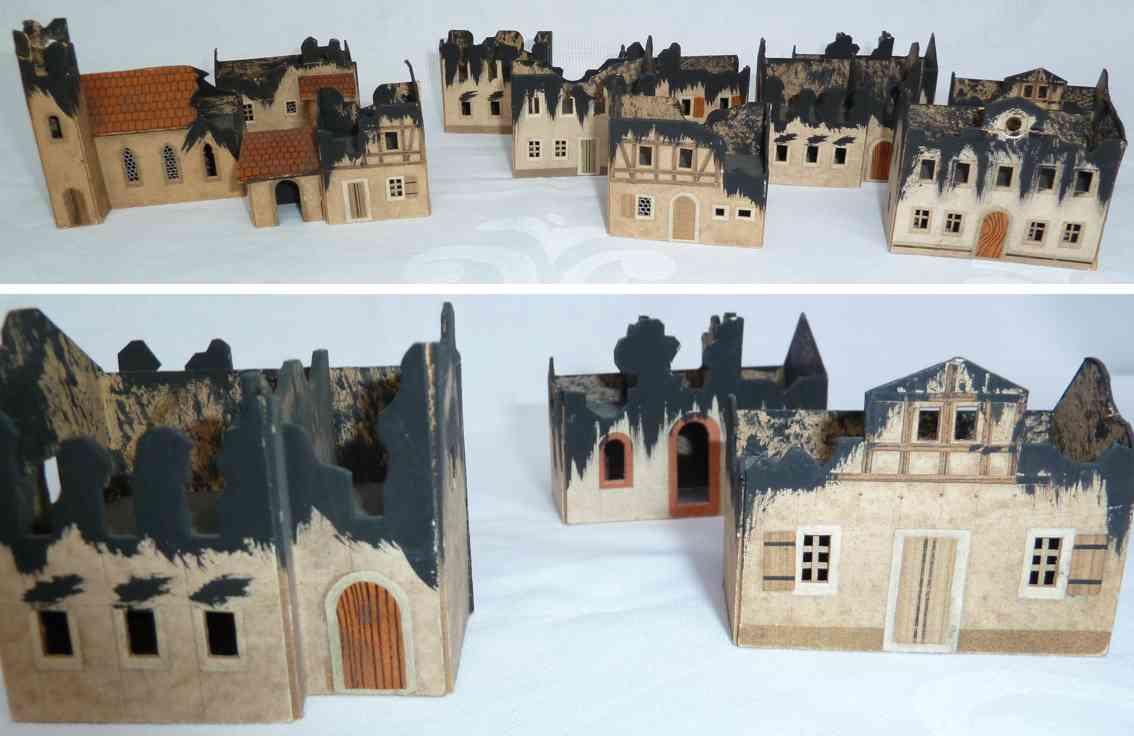 kunstanstalt artilla wooden toy 11-piece set fire ruins church hosues destroyed roofs