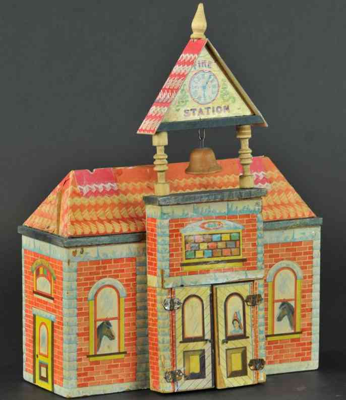 bliss rufus toy fire station lithographed paper on wood