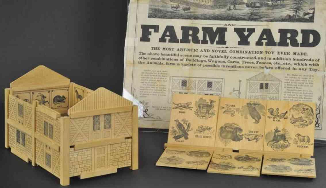 bradley milton wooden toy swiss cottage farm yard broadside