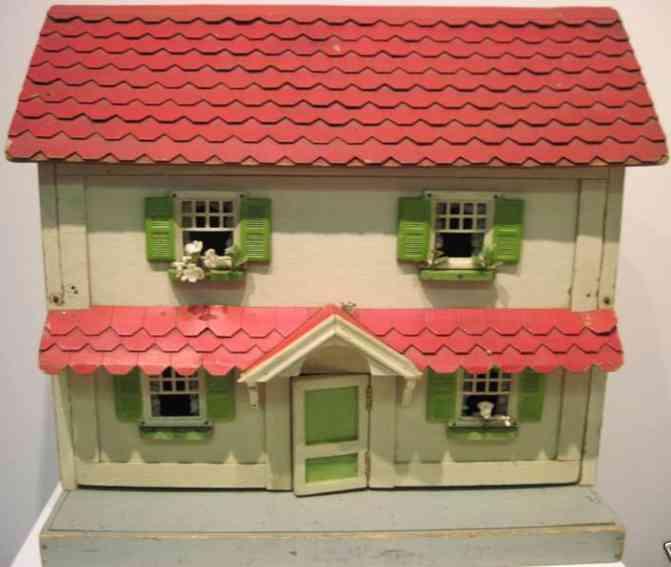 doll holz spielzeug gebäude haus im kolonialstil mit rotem dach und rotem vordach, mitti