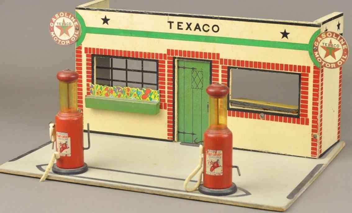 rich toys inc wooden fiberboard toy texaco gas station plastic fuel vials