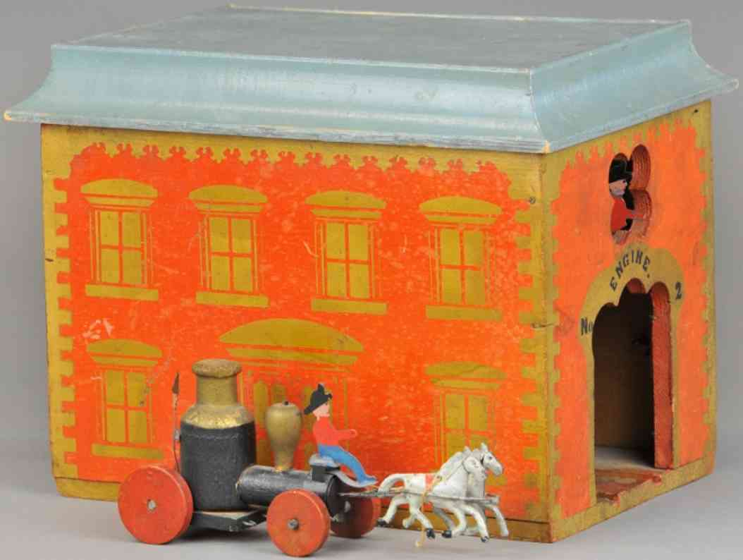 wooden toy early american firehouse with fire pumper
