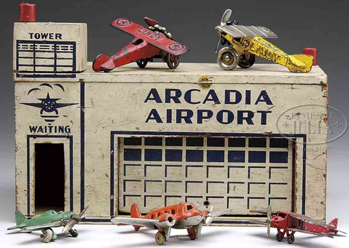 arcade wooden toy building airport 5 cast iron planes