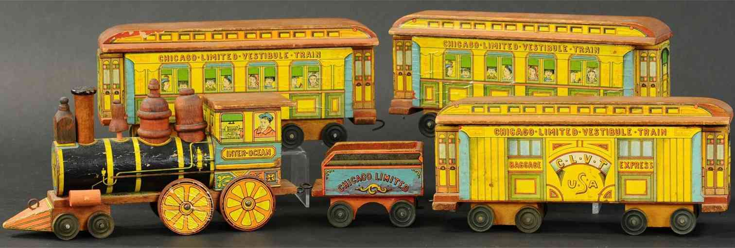 bliss rufus wooden toy chicago limited railroad set loco tender 3 cars 9 blocks