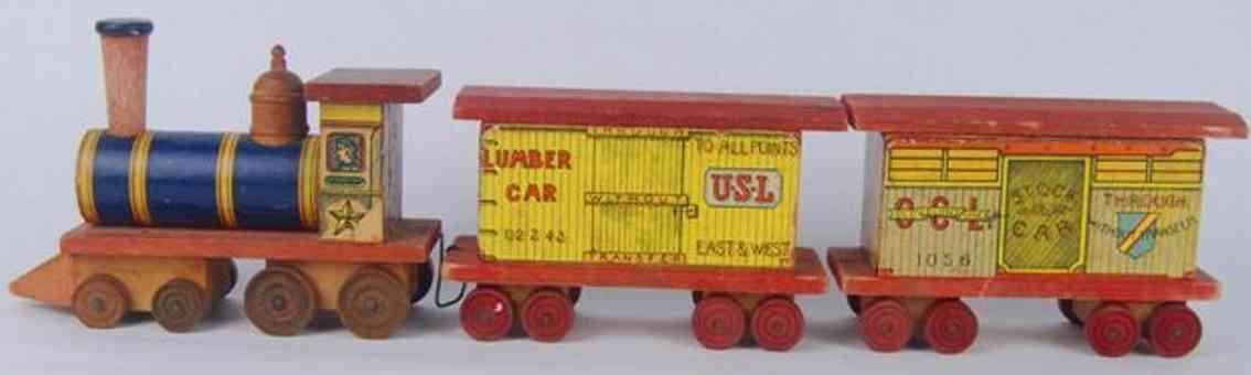 bliss rufus spielzeug lokomotive zwei gepaeckwagen papier auf holz