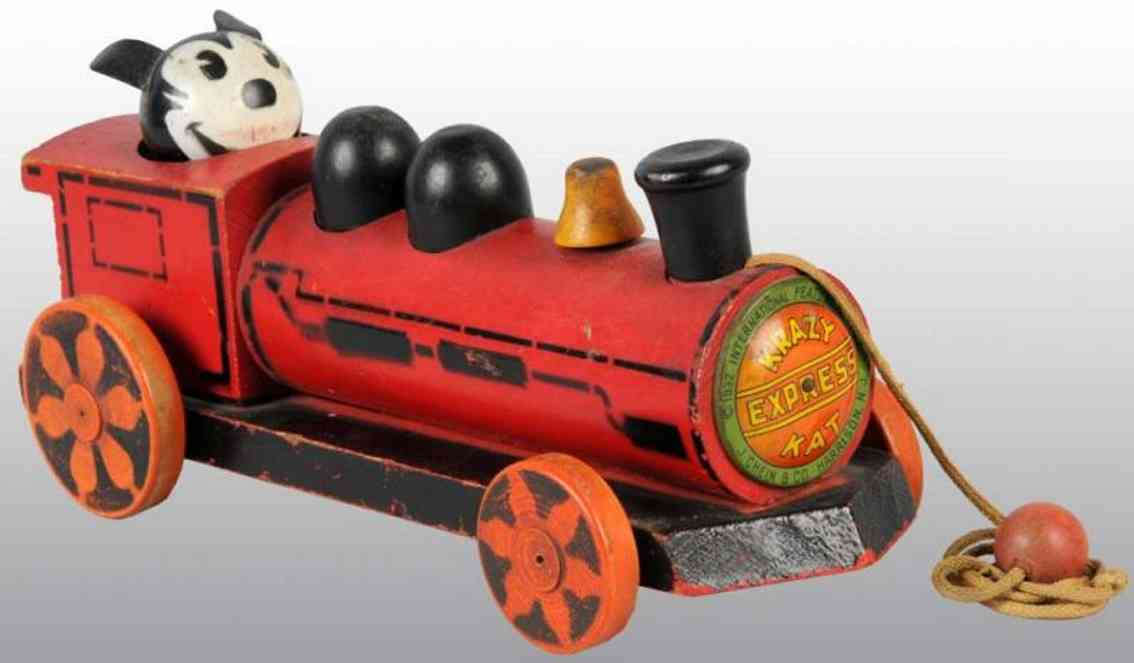 chein co wooden toy wooden krazy kat express, train pull toy, with original oilc