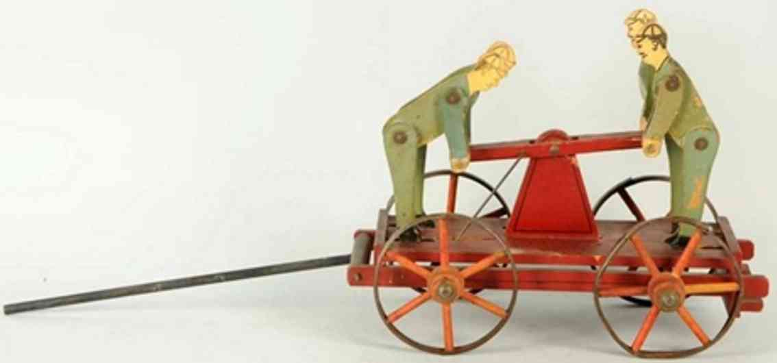 crandall covington wooden hand car as pull toy depicts four men