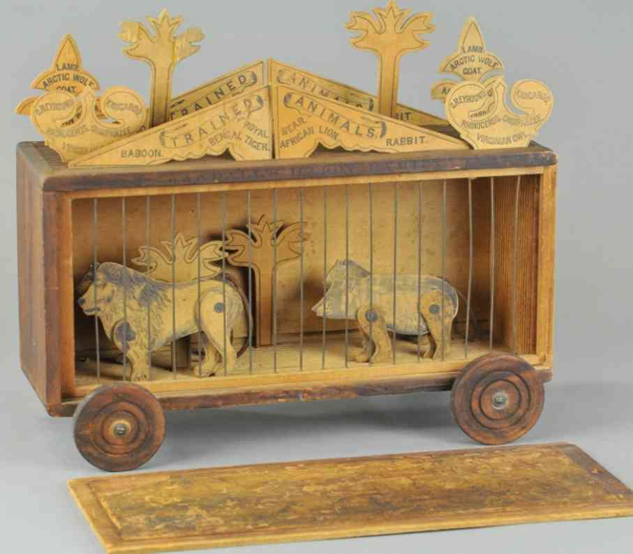 crandall wooden toy happy circus cage wagon animals
