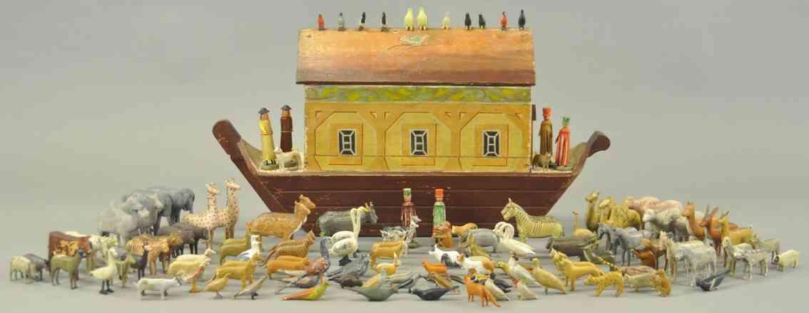 erzgebirge holz spielzeug noahs arche mit familie 100 tiere