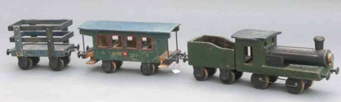 weber franz carl fcw holz spielzeug eisenbahn bestehend lokomotive (1053) mit tender (1002), per