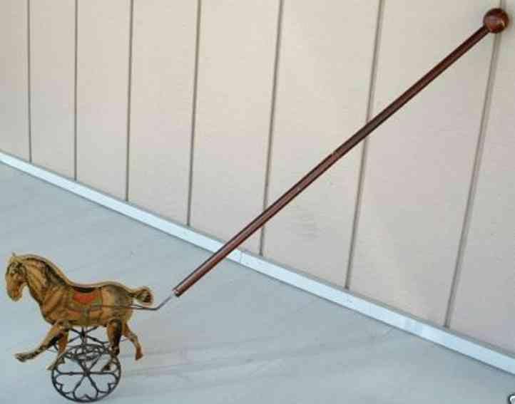 gibbs holz spielzeug pferd auf rädern mit langem stock, das pferd wurd aus holz a