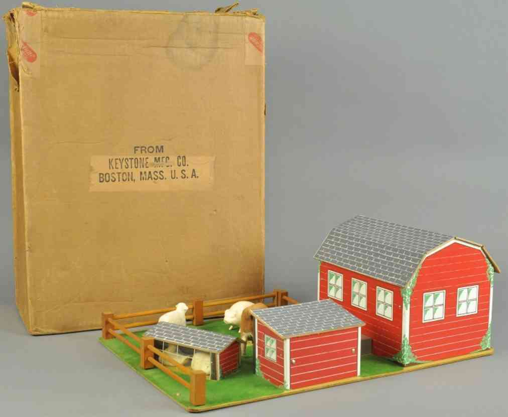 keystone 617 wooden toy farm set table top display barn shed