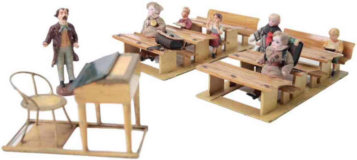 marklin maerklin wooden toy classroom with 6 pupil figures one teacher