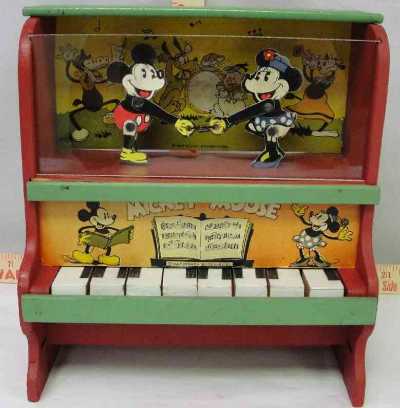 marx louis wooden toy mikey mouse piano dancing figures