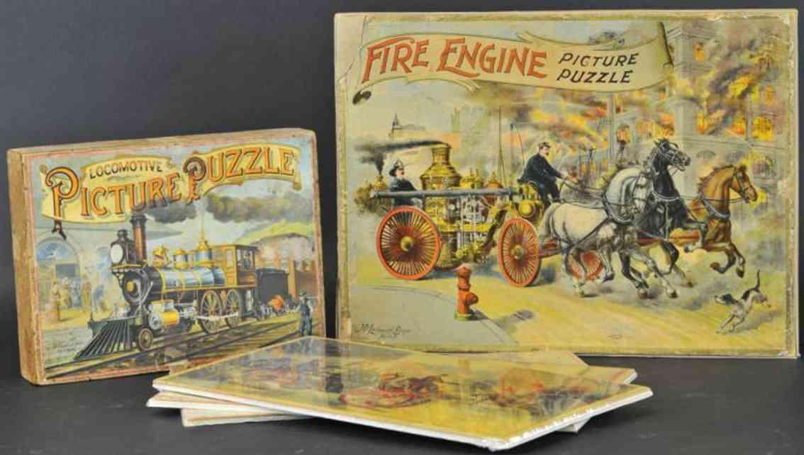 mcloughlin brothers holz spielzeug puzzle lokomotive feuerwehrkutsche