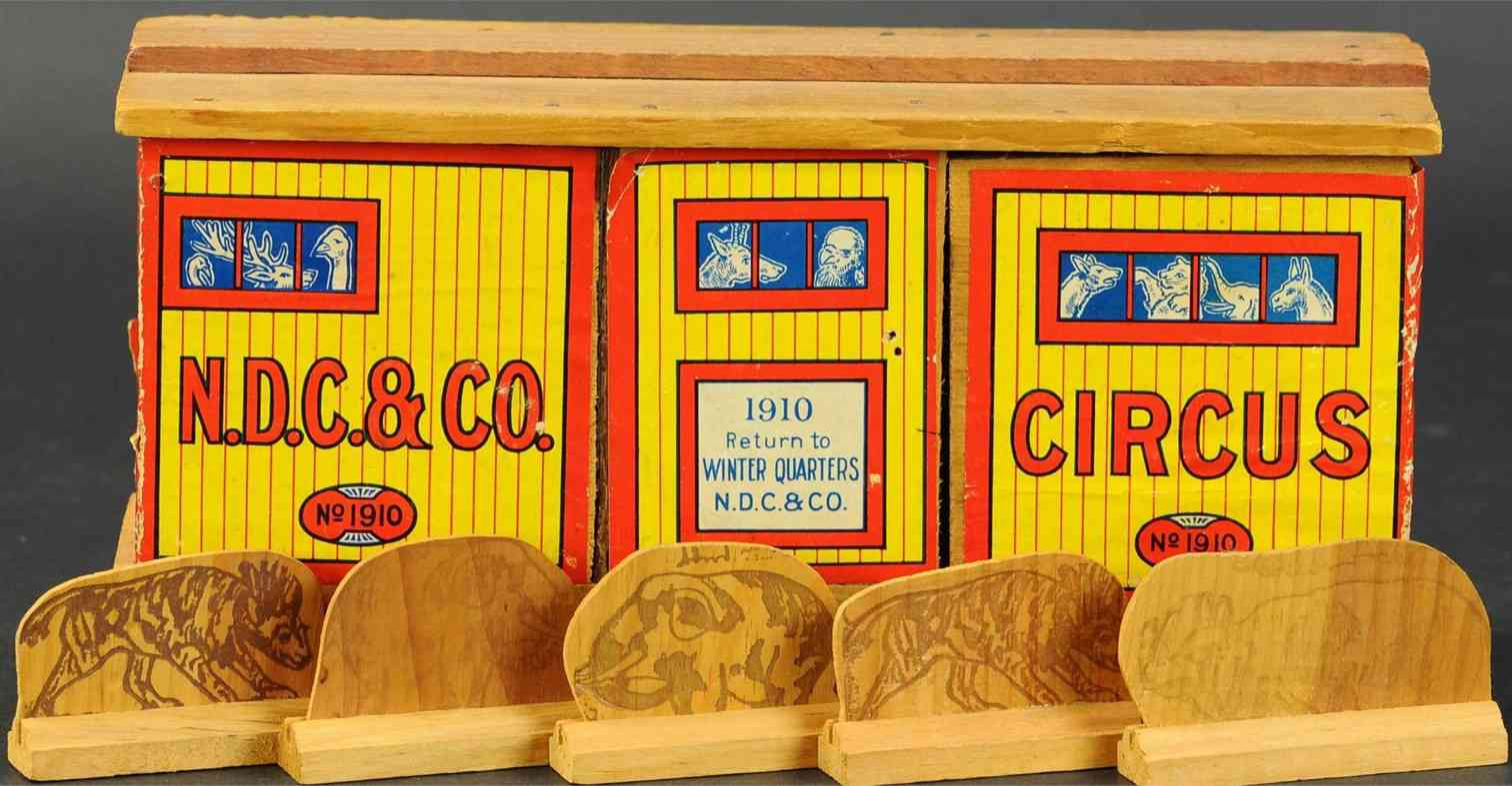 nd cass company 1910 wooden toy circus car and 5 animals