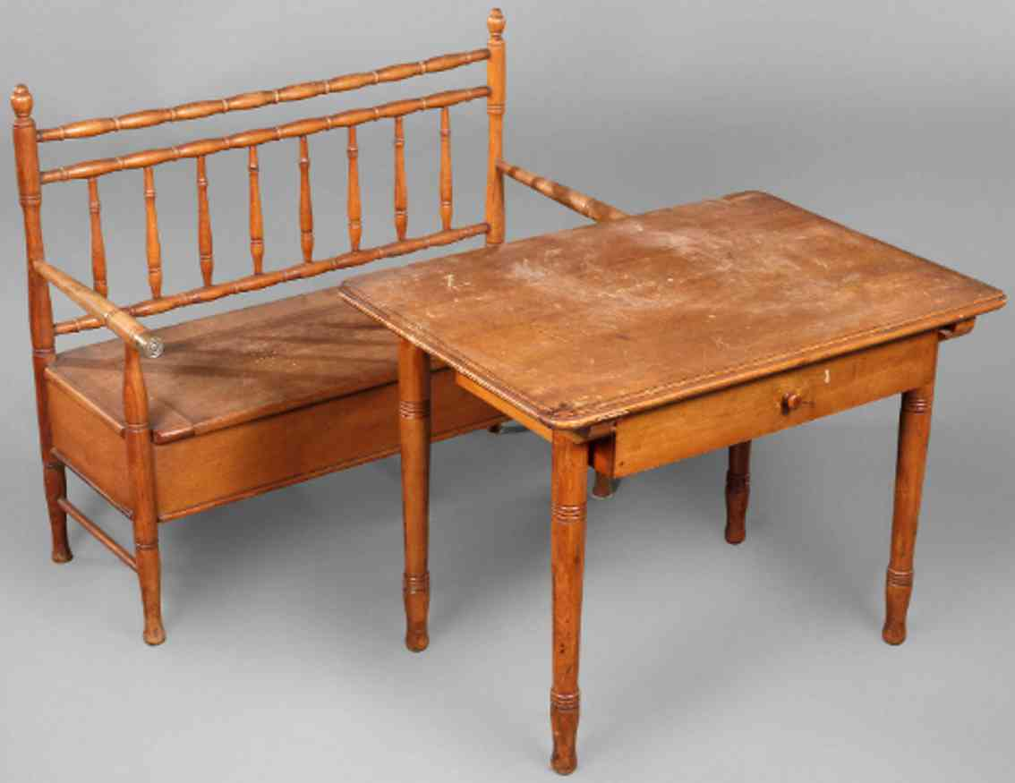 ernst albert naether wooden toy children's furniture bench and table