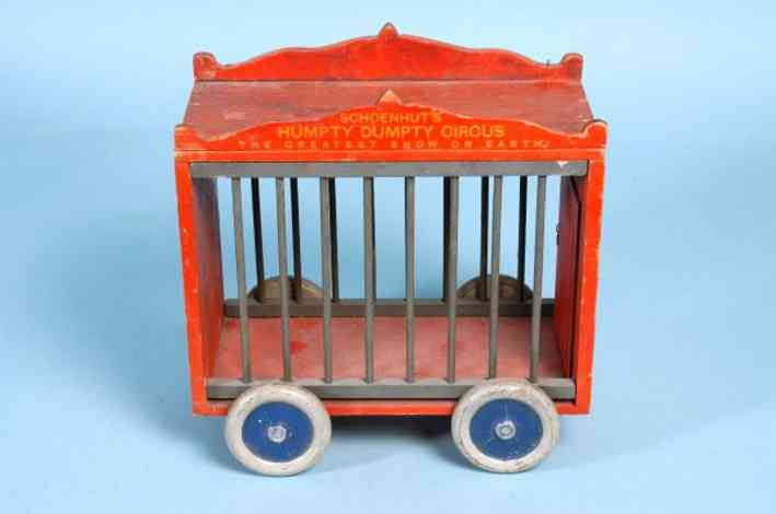 Schoenhut Cage wagon wooden painted cage with wooden marquee on top