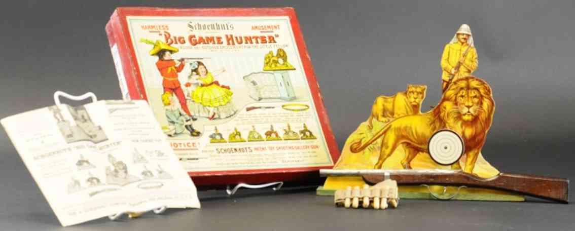 schoenhut big game hunter wooden toy target game lions