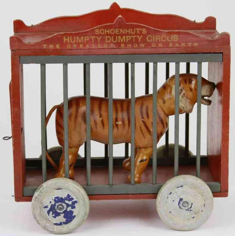 Schoenhut Wooden cage wagon with tiger