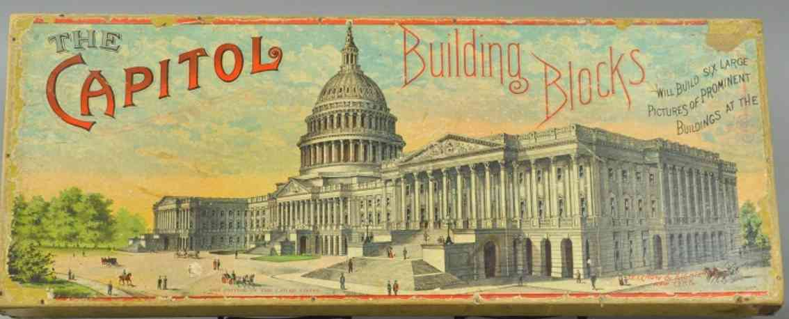 selchow and righter wooden toy capitol building cardboard blocks