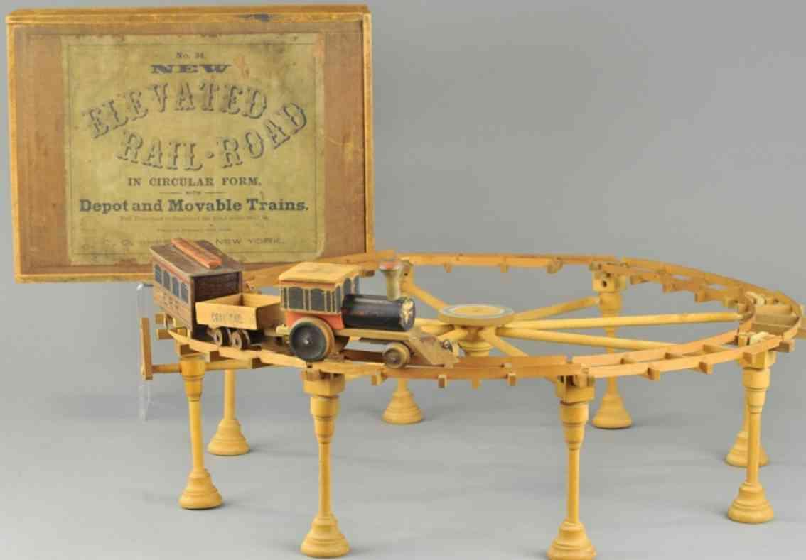 shepherd co 34 wooden toy elevated reilaroad toy set