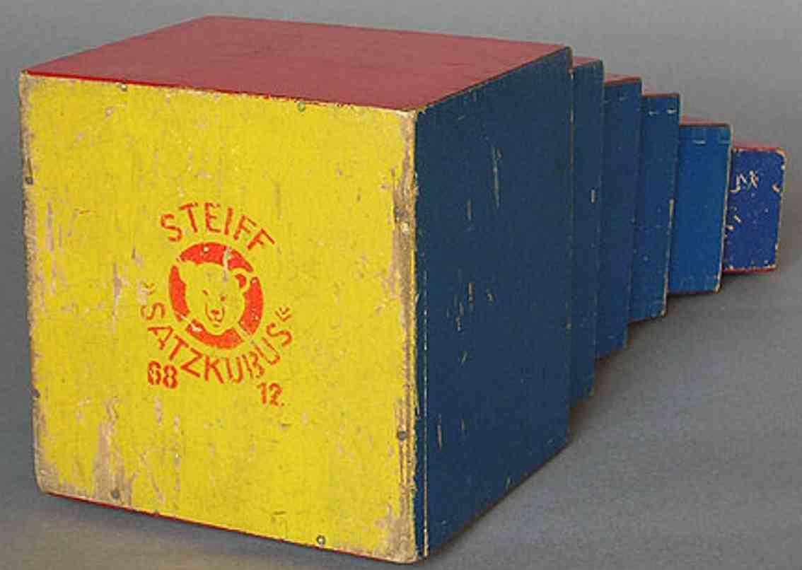 steiff wooden toy pyramid blocks satzkubus 6812