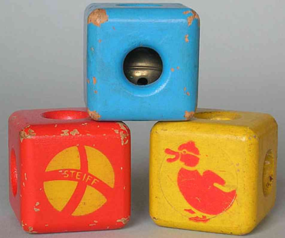 steiff 8005 wooden toy blocks with bell