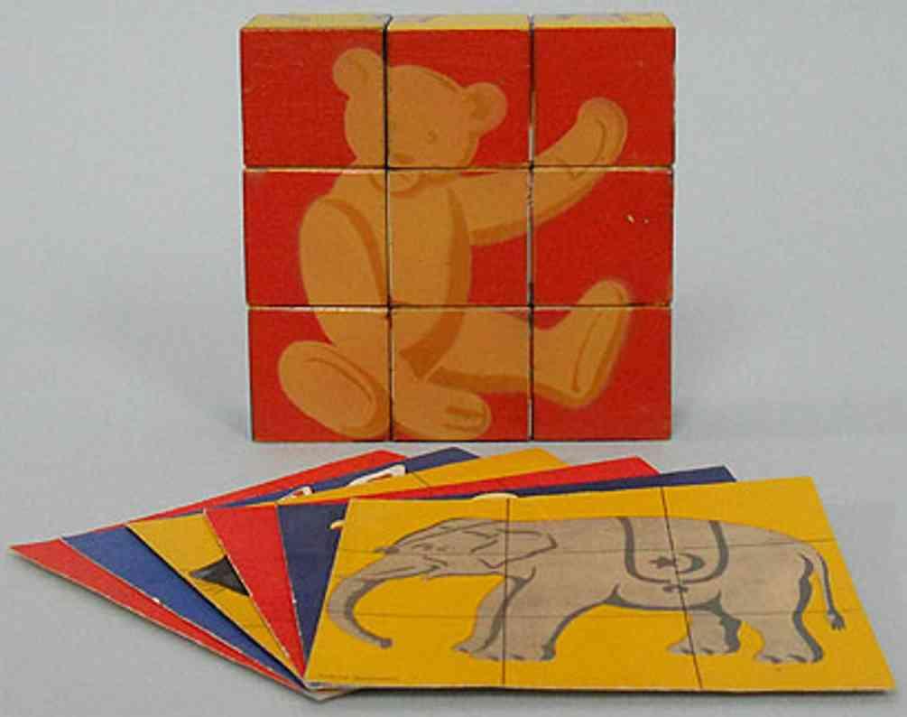 steiff 9805 wooden toy bricks bildkubus