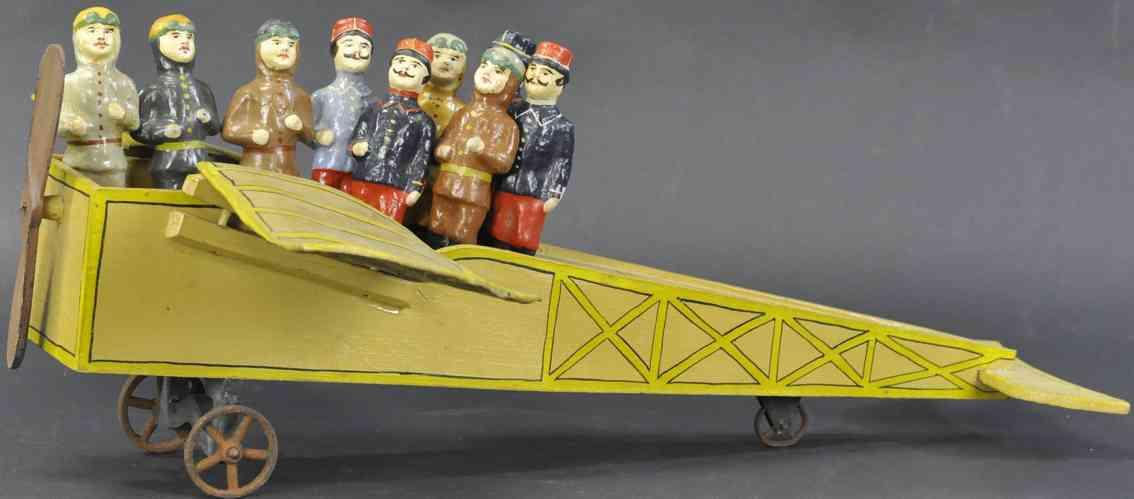 holz spielzeug flugzeug mit kegelset franzoesische flieger
