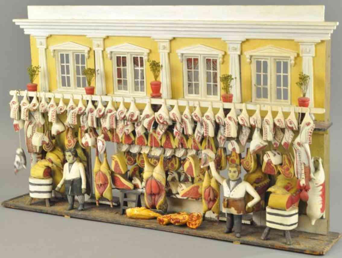 wooden toy english butcher shop diorama
