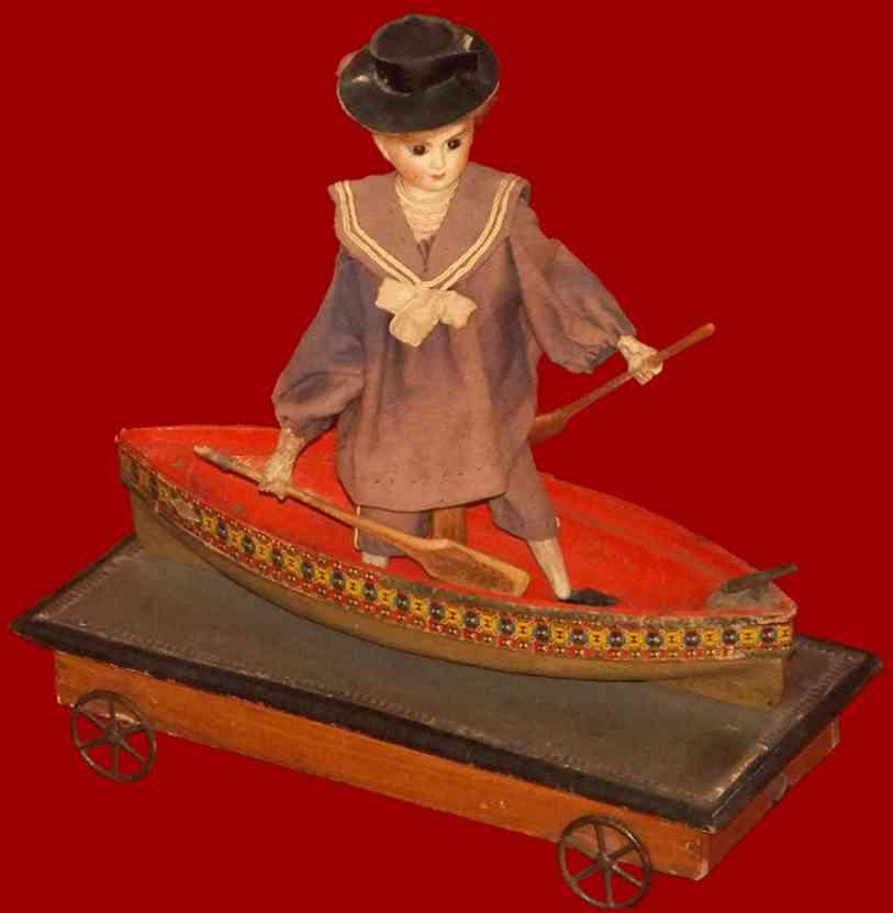jules verlingue holz spielzeug figur in boot auf plattform mit raedern