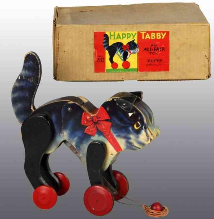 All-Fair 283 Holz Glückliche getigerte Katze
