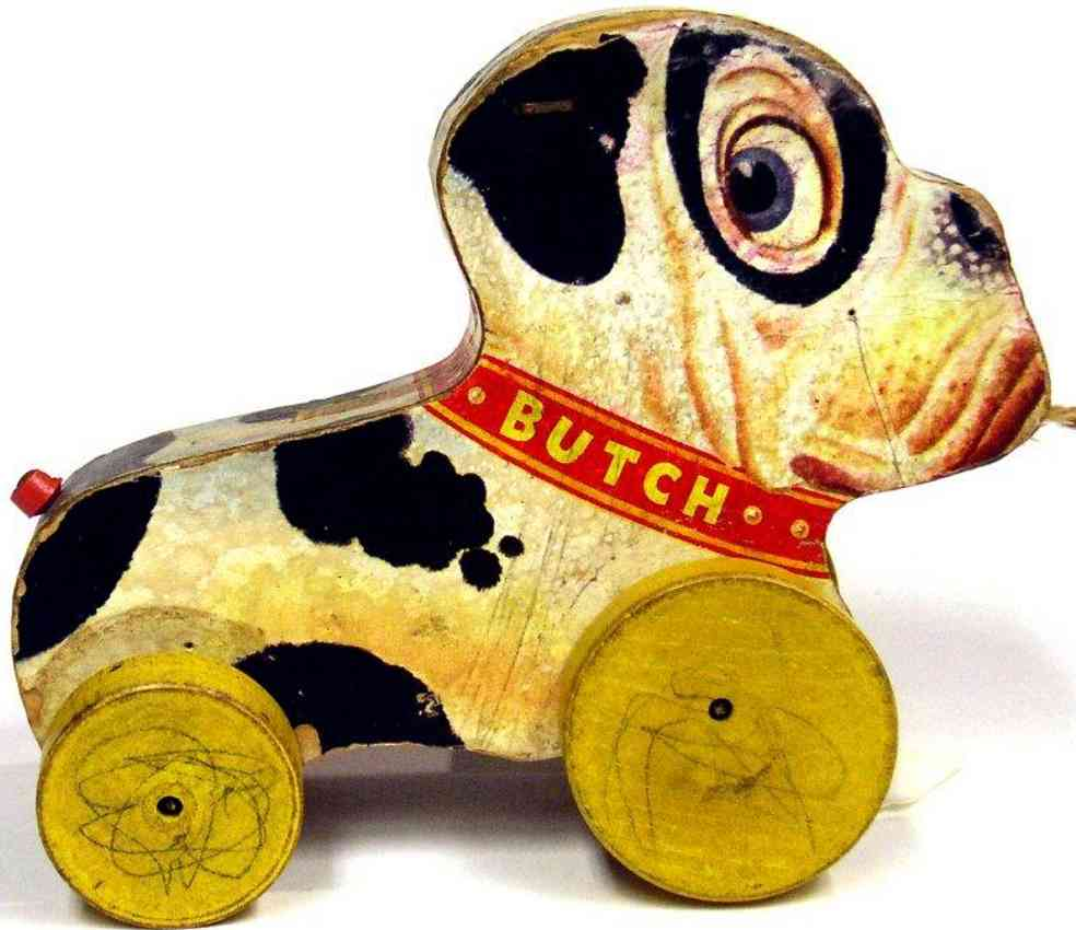 fisher-price 333 wooden toy butch the pup, yellow disc wheels