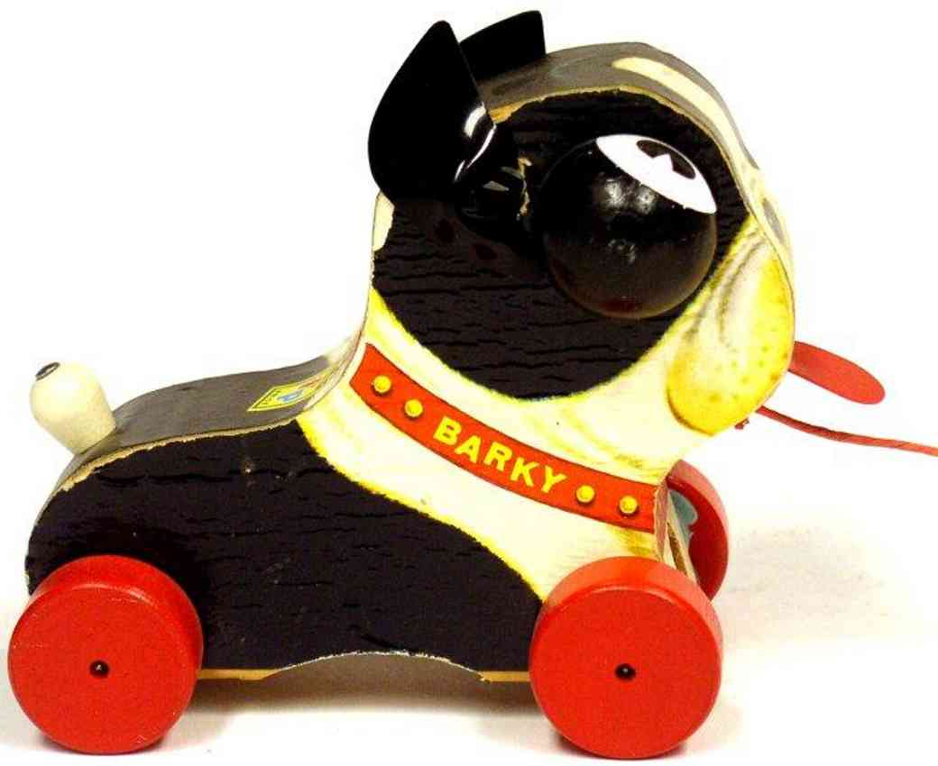 fisher-price 462 wooden toy barky dog red wheels