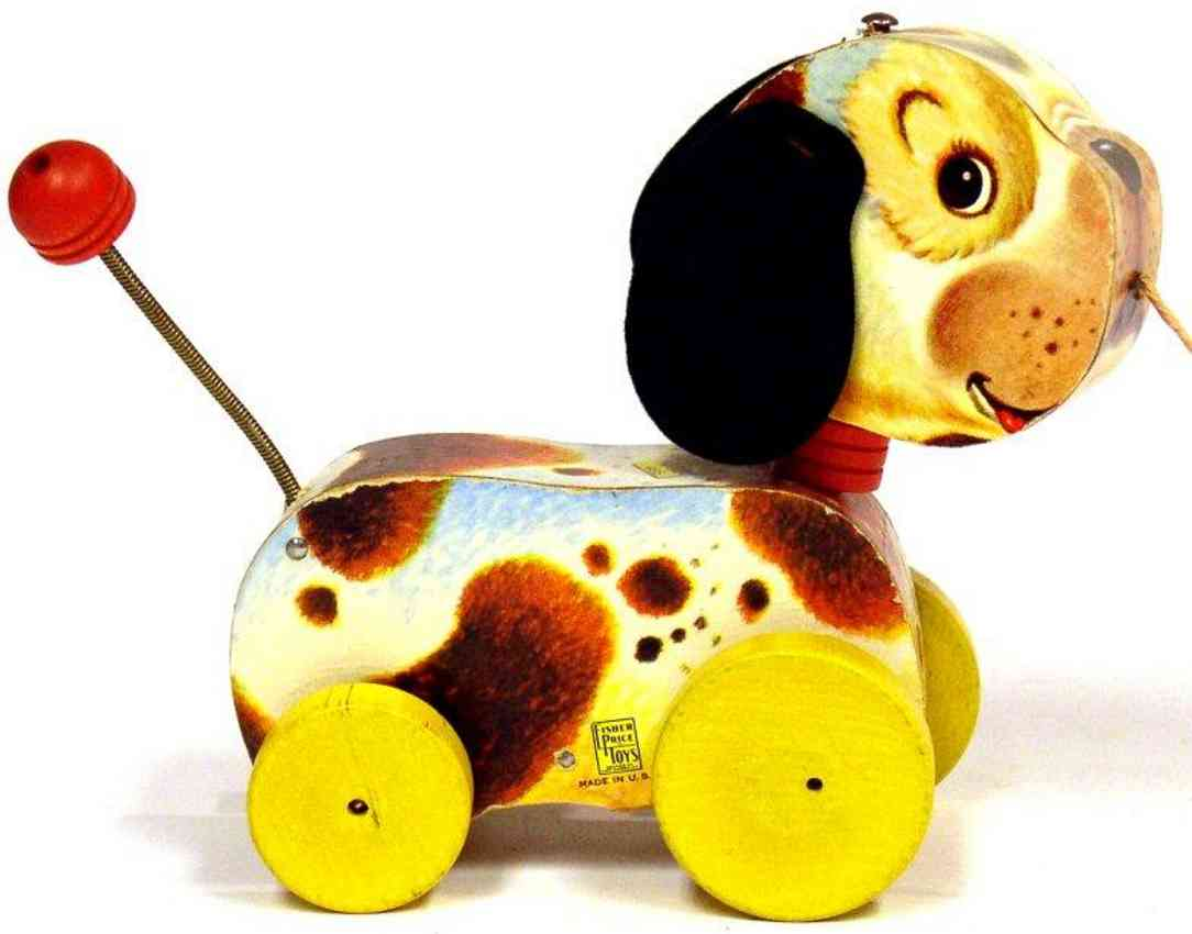 fisher-price 465 wooden toy woofy wagger dog with yellow disc wheels