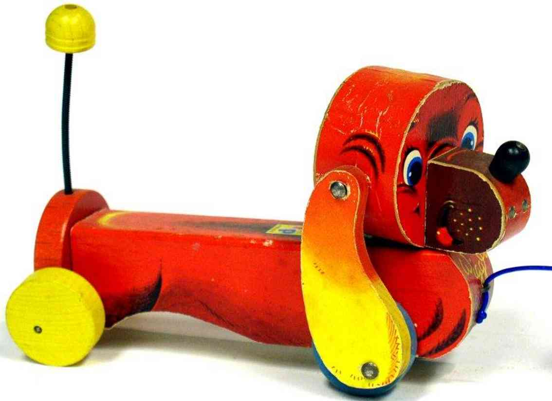 fisher-price 640 wooden toy wiggy woofer yellow disc wheels
