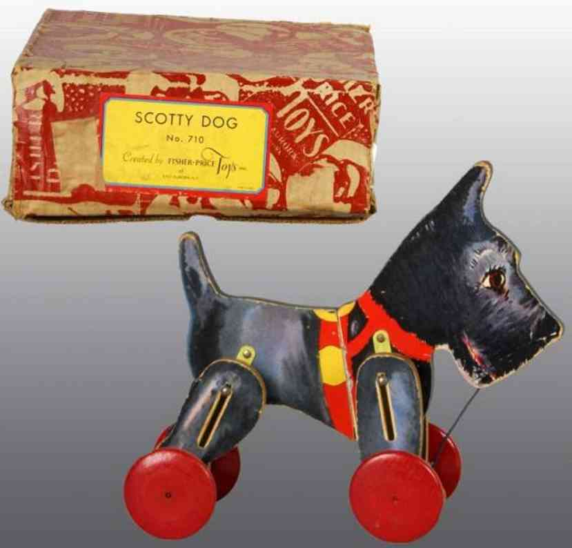 fisher-price 710 holz scotch terrier papier auf holz