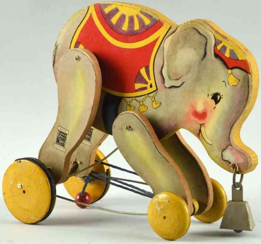 fisher-price 712 wooden toy johnny jumbo elephant