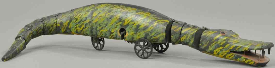 ives Holz spielzeug alligator mit uhrwerk