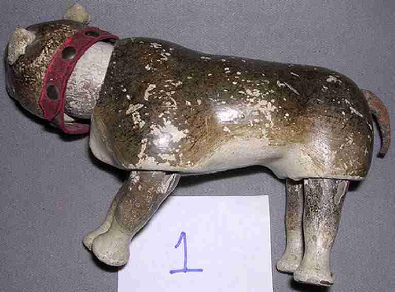 schoenhut holz bulldogge rot gemalte augen nase und mund