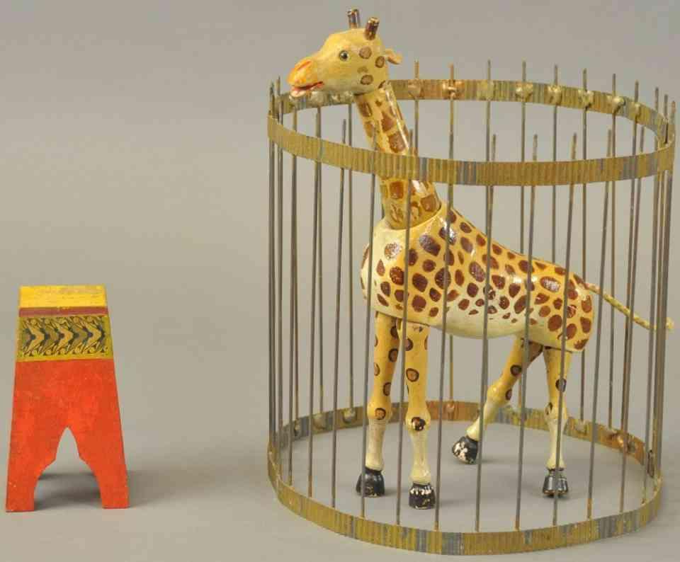 schoenhut holz giraffe mit kaefig