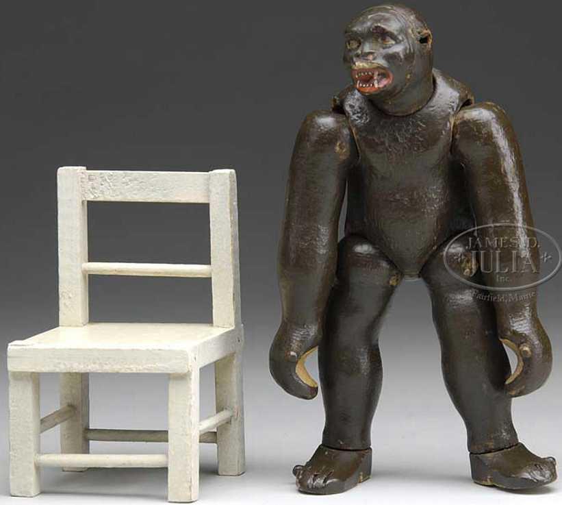 schoenhut holz gorilla maskengesicht stuhl